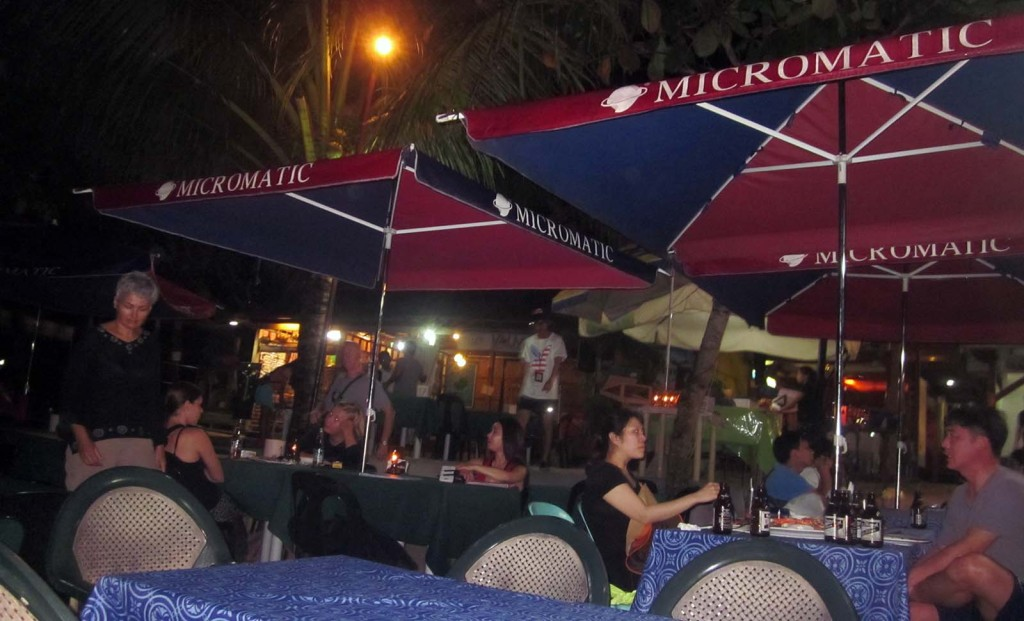 Alona beach restaurants in the evening