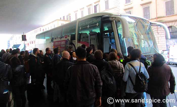 Trying to board a Terravision bus at Termini Train Station in central Rome