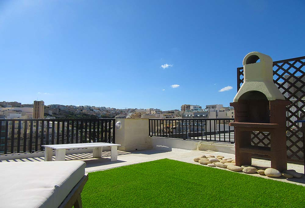 Malta Seafront Penthouse For Sale - Stone barbecue